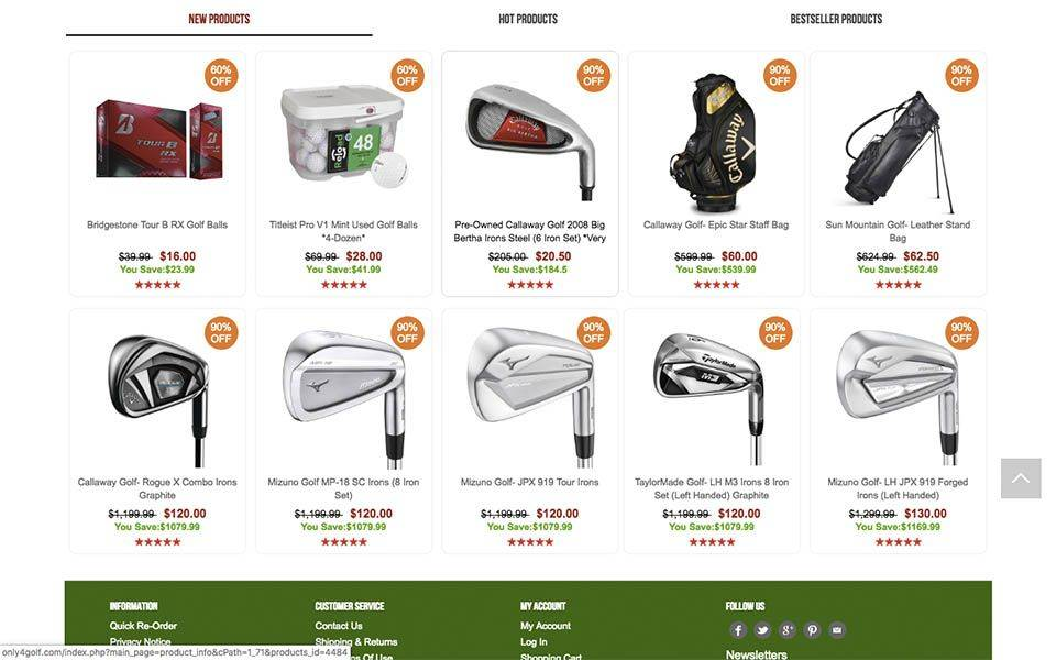 captura de productos - only4golf.com tienda online falsa