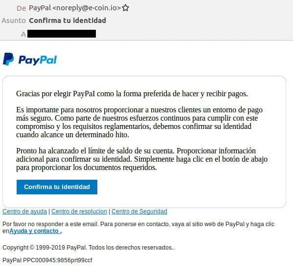 Phishing Paypal Email Confirma Identidad